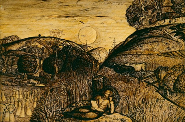 The Valley Thick with Corn by Samuel Palmer (1825).