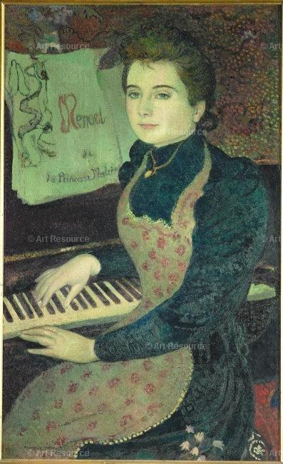 Le menuet de la Princesse Maleine ou Marthe au piano (Princess Maleine's Minuet or Marthe Playing the Piano). by Maurice Denis (1891)