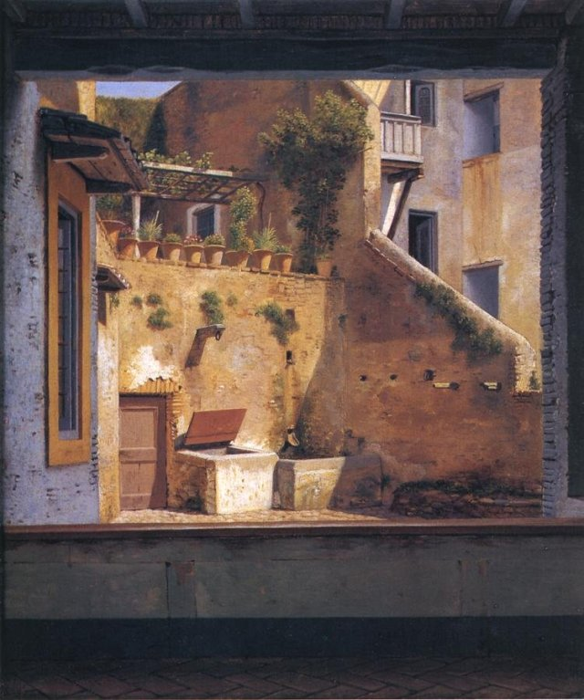A Courtyard in Rome by Christoffer Eckersberg (1814-16)