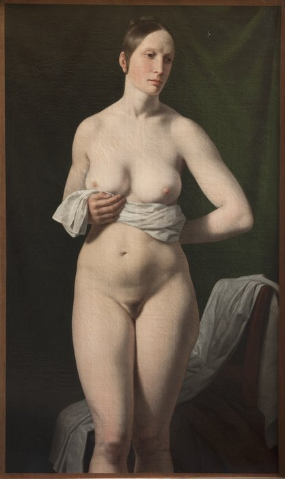 Standing Female Model with a Green Background, by Christoffer Eckersberg (1837) (126 x 77cms) The Royal Academy of Fine Arts, Copenhagen