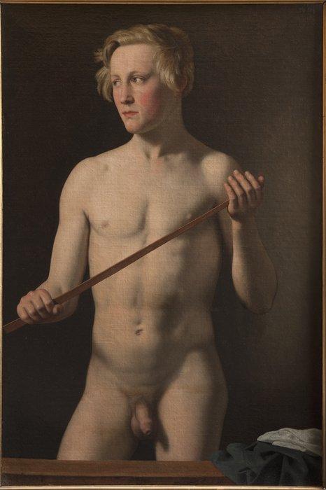 Male Model holding a Staff. Carl Frørup, 18 Years (1837) The Royal Academy of Fine Arts, Copenhagen