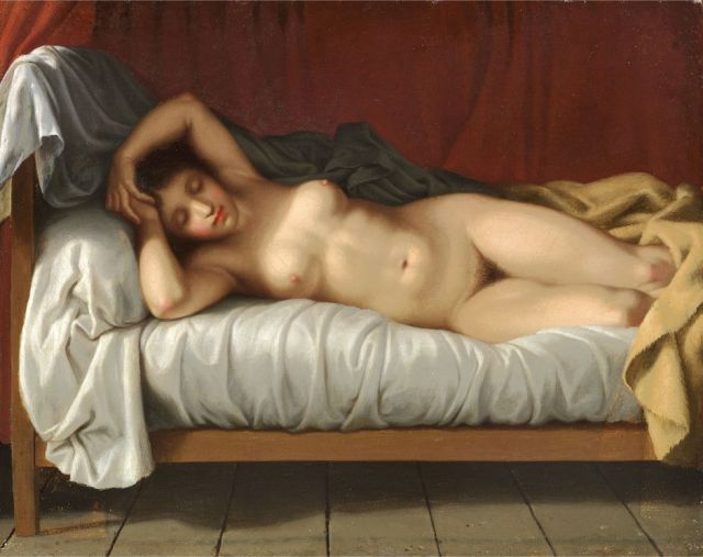 Nude reclining on a bed by Christoffer Eckersberg (1810-1813) (22 x 27 cms) Christian Panbo, Aabenraa