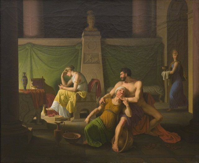 Odysseus' Homecoming. Scene from the Odyssey XIX song, by Christoffer Eckersberg (ca. 1812)