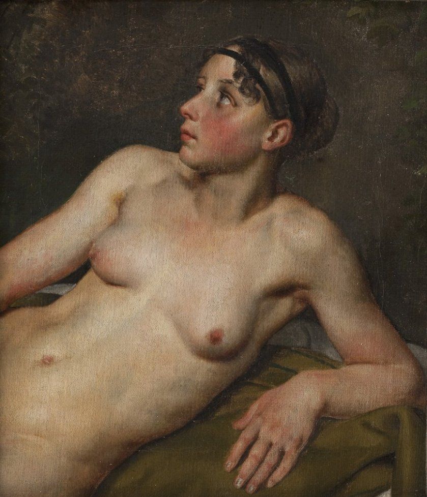Reclining Female Nude by Christoffer Eckersberg (1813) (30 x 27 cms) Statens Museum for Kunst, Copenhagen