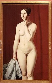 Standing Female Nude against a Red Background by Christoffer Eckersberg (1837) (125 x 77cms) The Royal Academy of Fine Arts, Copenhagen