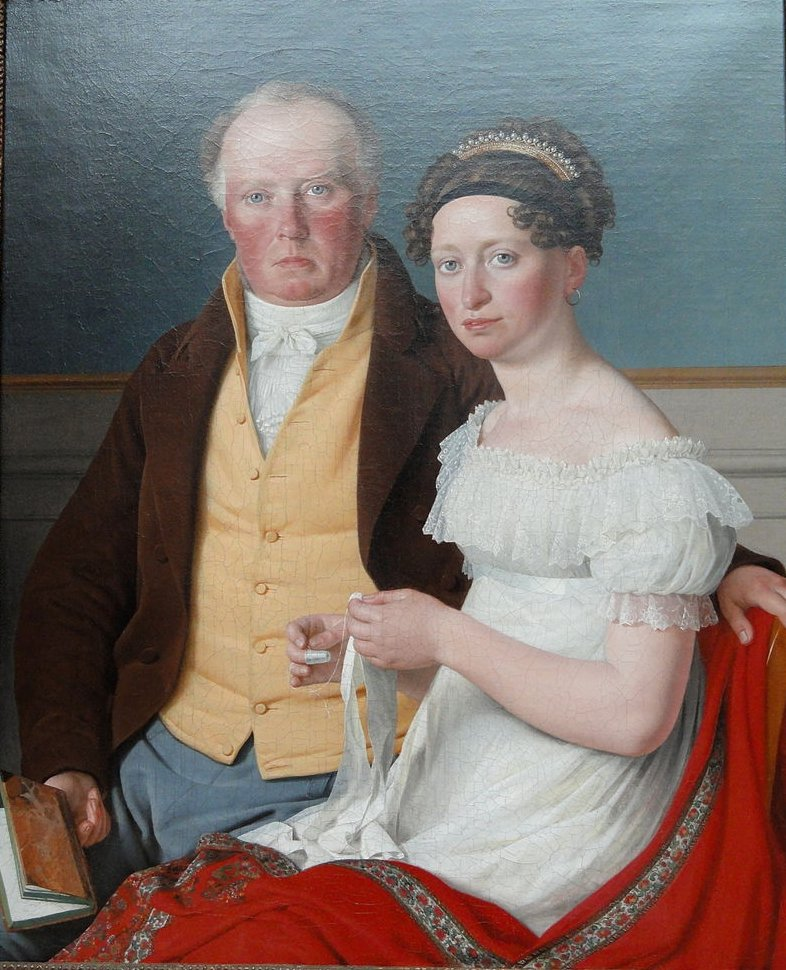 The Double Portrait of Count Preben Bille-Braheand his second wife Johanne Caroline neé FalbeZ by Christoffer Eckersberg (1817) (61 x 50cms) Ny Carlsberg Glyptotek