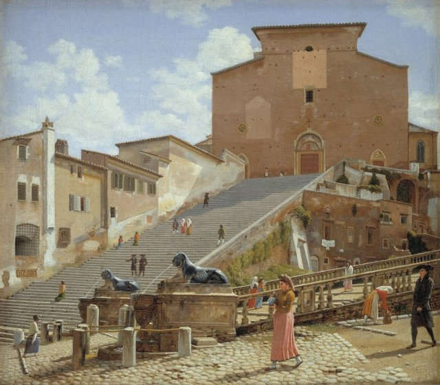 The Marble Steps leading to the Church of Santa Maria in Aracoeli in Rome by Christoffer Eckersberg (1816)