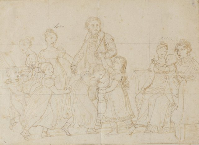 The Nathanson Family (Preliminary sketch) by Christoffer Eckersberg (1818)