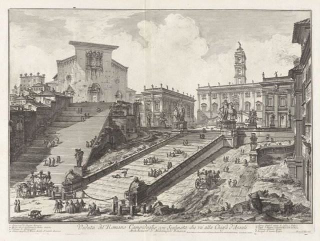View of the Capitoline Hill with the Steps that go to the Church of Santa Maria] d'Aracoeli) by Paranesi (c.1757)