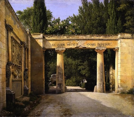View of the Garden of the Villa Borghese in Rome by Christoffer Eckersberg (1814)