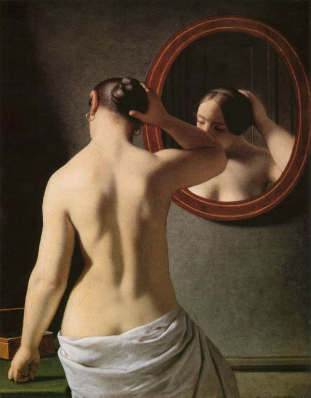 Woman Standing In Front Of A Mirror by Christoffer Eckersberg (1841) The Hirschsprung Collection