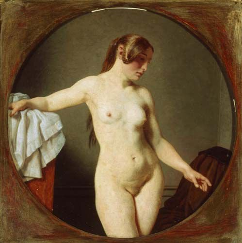 Female Nude, Florentine by Christoffer Eckersberg (1840) Oil on copper (23 x 23 cms) BRANDTS-Museum of Art and Visual Culture, Odense