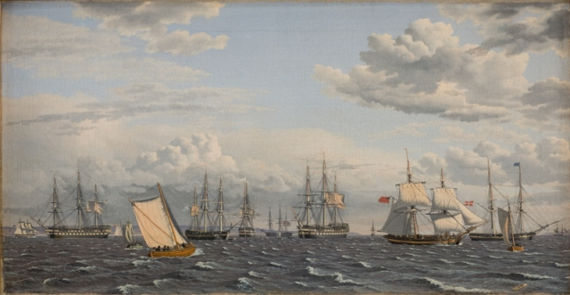 A Russian Fleet at Anchor near Elsinore by Christoffer Eckersberg (1826) (32 x 59cms) Statens Museum for Kunst, Copenhagen