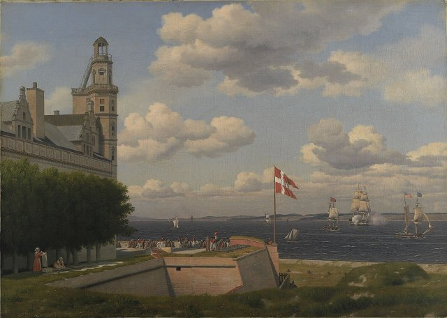A View towards the Swedish Coast from the Ramparts of Kronborg Castle by Christoffer Eckersberg (1829)