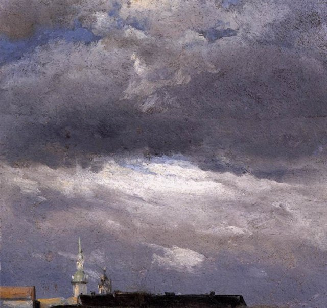 Cloud Study, Thunder Clouds over the Palace Tower at Dresden by J C Dahl (1822) (21 x 22cms) Nationalgalerie Berlin