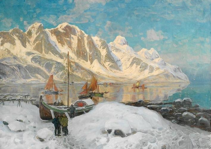 Fishing Village, Lofoten by Thorolf Holmboe