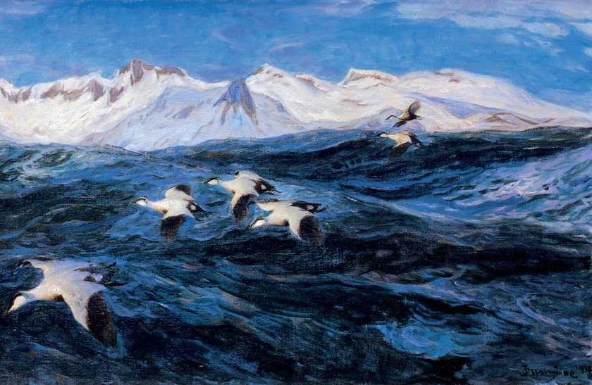 Marine painting by Thorolf Holmboe