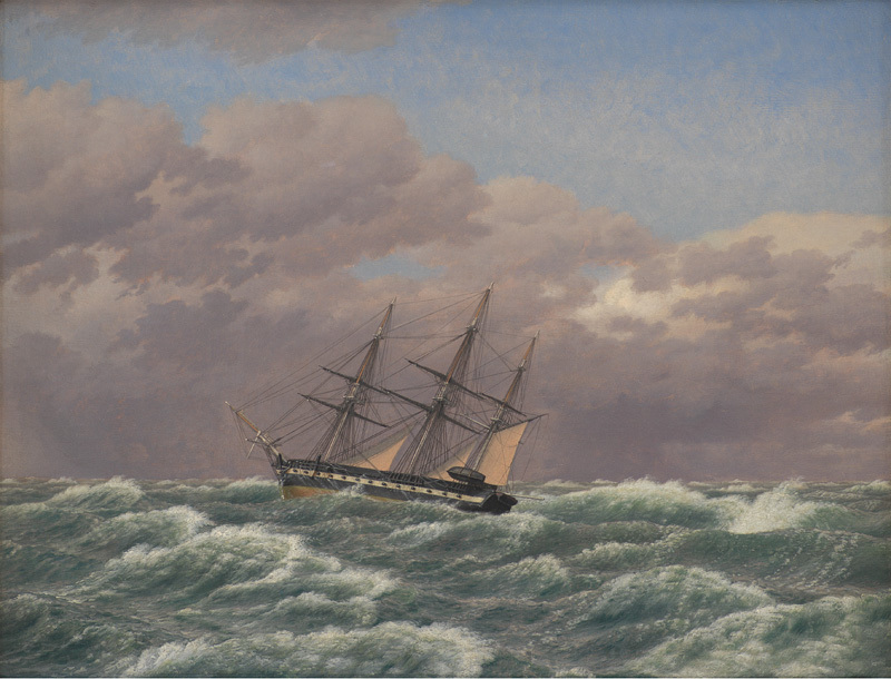 The Corvette Galathea in a Storm in the North Sea by Christoffer Eckersberg (1839) (48 x 64cms) Statens Museum for Kunst, Copenhagen