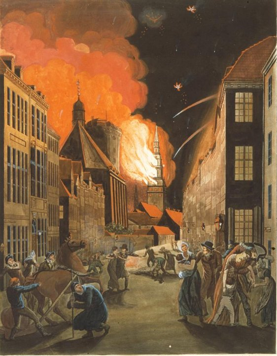 The Fire of the Church of Our Lady by Christoffer Eckersberg (1807) The Royal Library, Copenhagen