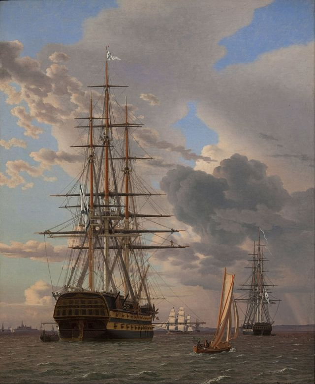 """The Russian Ship of the Line """"Asow"""" and a Frigate at Anchor in the Elsinore Roads (1828) (63 x 51cms) Statens Museum for Kunst, Copenhagen"""