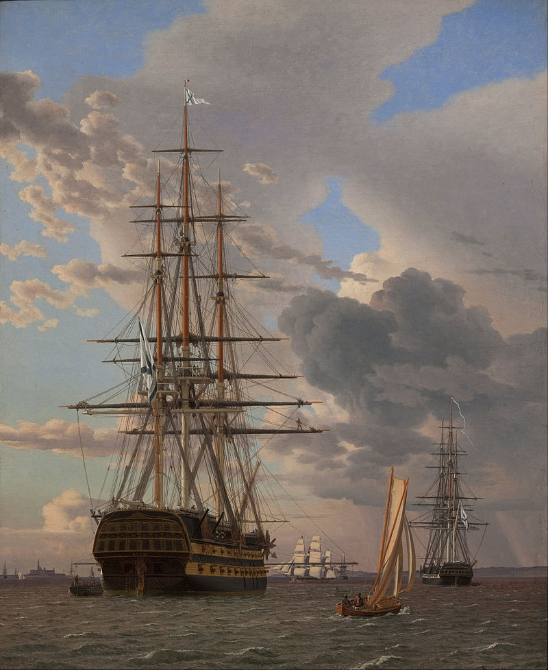 "The Russian Ship of the Line ""Asow"" and a Frigate at Anchor in the Elsinore Roads (1828) (63 x 51cms) Statens Museum for Kunst, Copenhagen"