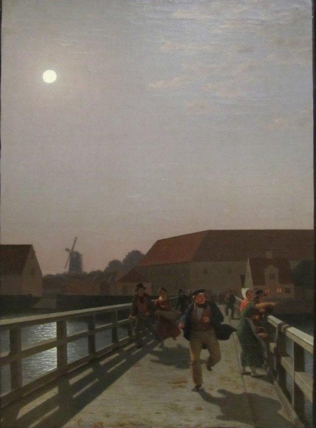 Langebro, Copenhagen, in the Moonlight with Running Figures by Christoffer Eckersberg (1836) (45 x 33cms) Statens Museum for Kunst, Copenhagen