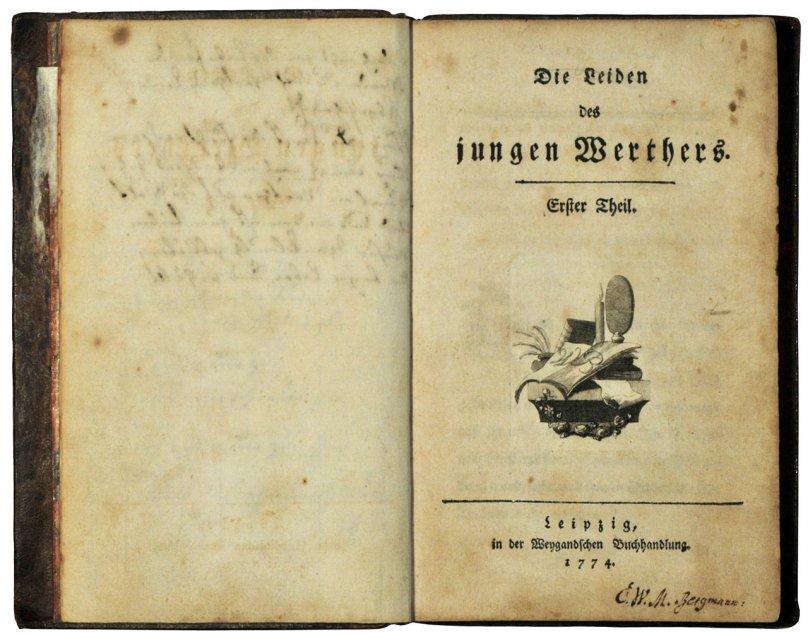 First edition of Die Leiden des jungen Werthers by Johann Wolfgang Goethe