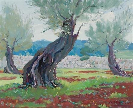 Majorcan Landscape (Oil on tablex) by Josep Coll Bardolet