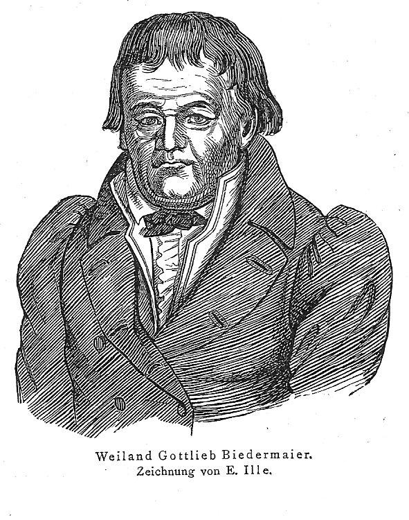 Portrait of the fictitious character Gottlieb Biedermeier from the Munich Fliegende Blatter