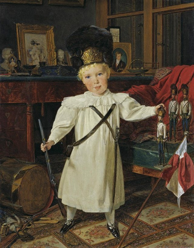 Portrait of the Future Emperor Franz Josef I of Austria as a Grenadier with Toy Soldiers by Ferdinand Waldmüller (1832)