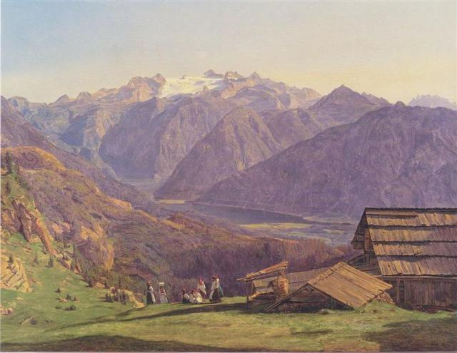 View Of The Dachstein With The Hallstättersee From The Hütteneckalpe At Ischl by Ferdinand Waldmüller (1838)