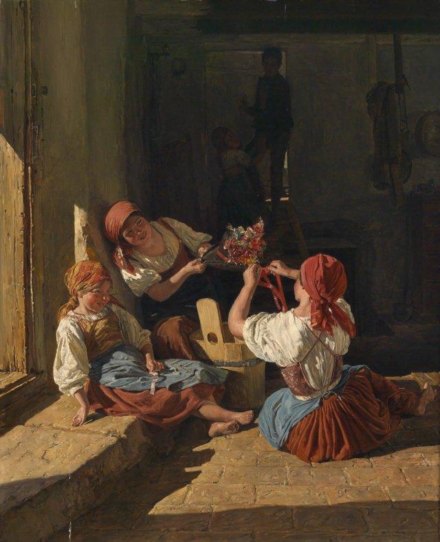 Ferdinand Georg Waldmüller, Children decorating a Conscript's Hat (1854)