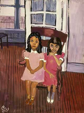 Two Girls in Spanish Harlem by Alice Neel (1941)