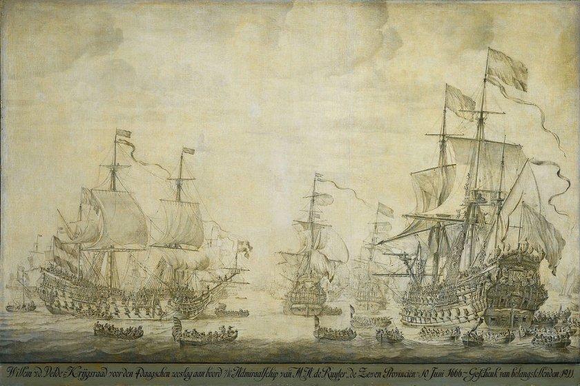 The Battle Council on the De Zeven Provincien by Willem van de Velde the Elder (1666)