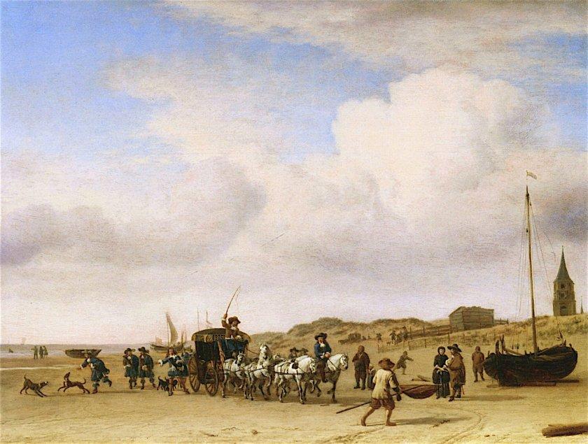 Carriage on the Beach at Scheveningen by Adriaen van de Velde (1660)