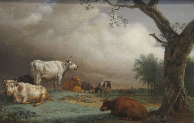 Cattle in a Meadow by Paulus Potter (1652) Oil on wood.