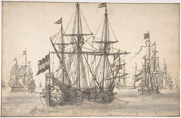 Dutch Men of War at Anchor by Willem van de Velde the Elder