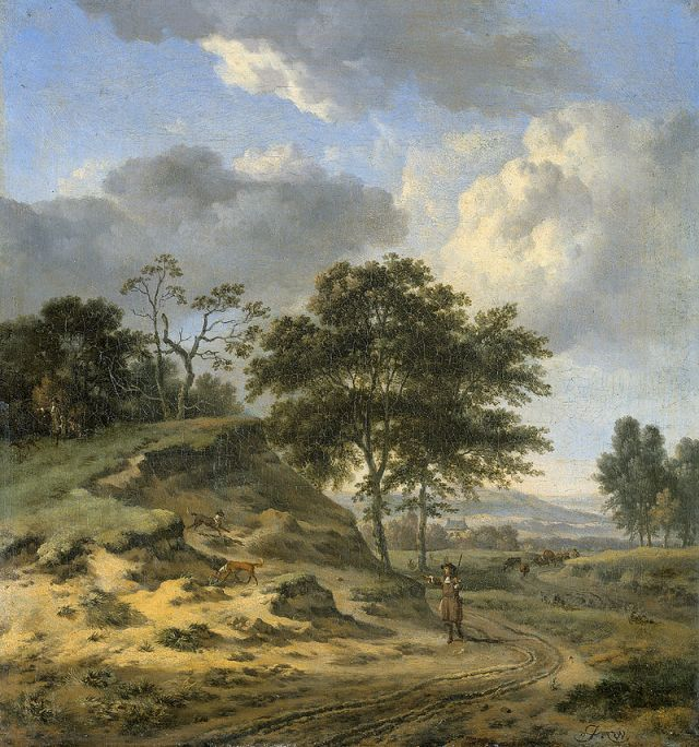 Landscape with Two Hunters by Jan Wijnants