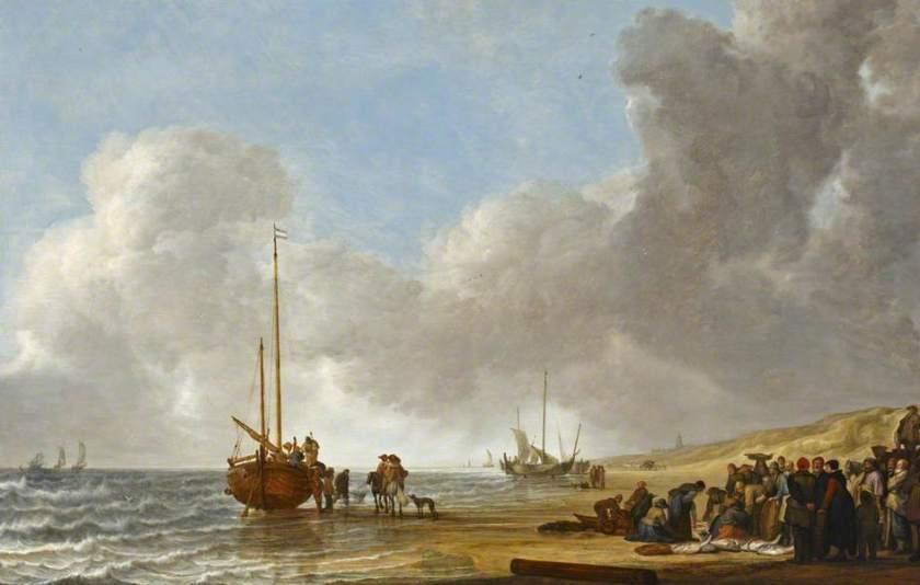 The Beach at Scheveningen by Simon de Vlieger (1633)