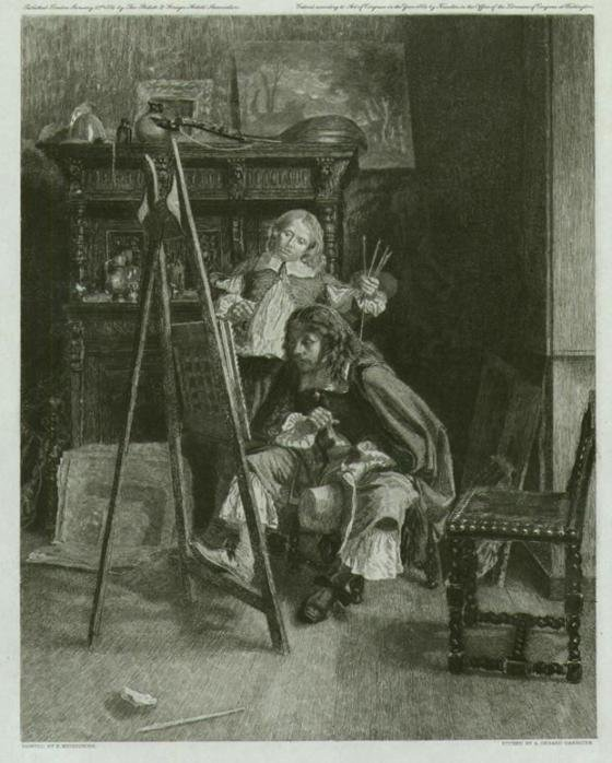 The brothers van de Velde. Etching by Gerard Darbiche from painting by Ernest Meissonier
