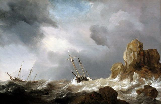 Ships in a Gale by Willem van de Velde the Younger