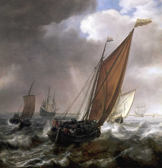 Dutch Ferry Boat before a Breeze by Simon de Vlieger
