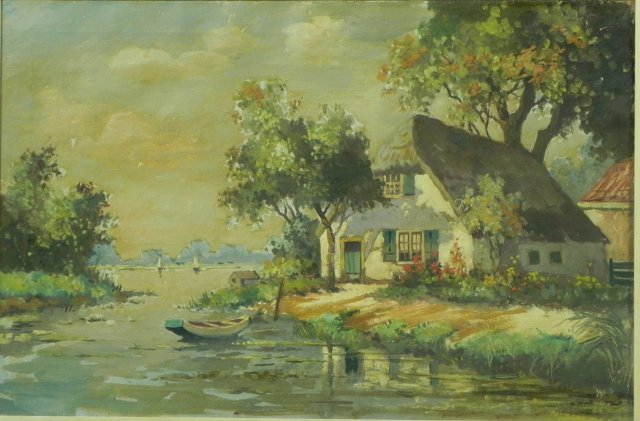 Farm and creek with boat by Sientje van Houten Mesdag