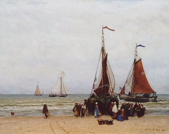 Fishing Boats and Fisher-folk on the Beach of Scheveningen by Hendrik Mesdag (1872)