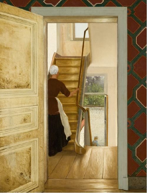 Interior with Staircase by Hendrik Mesdag (1868)