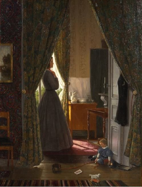 Interior with Wife and Child by Hendrik Mesdag (1868)