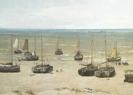 Panorama Mesdag with Sientje sitting under white parasol