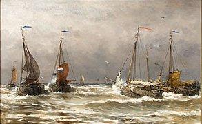 The Scheveningen Fishing Fleet putting to Sea in Hevay Weather by Hendrik Mesdag