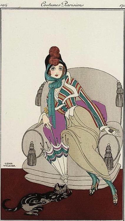 Costumes Parisiens - illustration by Gerda Wegener (1914)