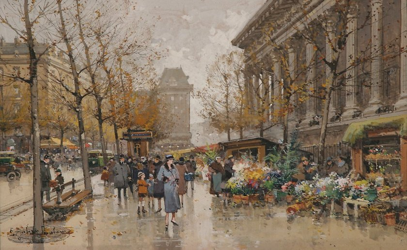Flower Marketby by Eugène Galien-Laloue